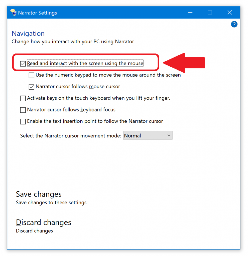 "Windows Narrator settings showing how to turn on ""read whatever I point at with the mouse"""