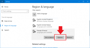 Select your new language and click the Options button