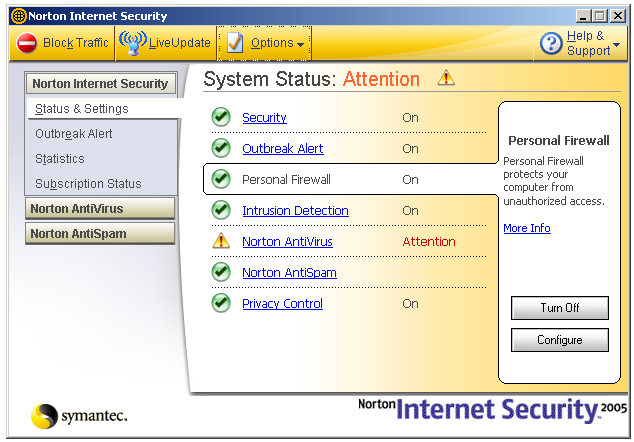Options window for Norton Personal Firewall.