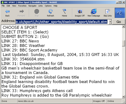Screenshot of WebbIE showing standard browser layout with text-only representation of web page.