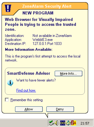 Security Alert for ZoneAlarm: just allow access and everything should work.