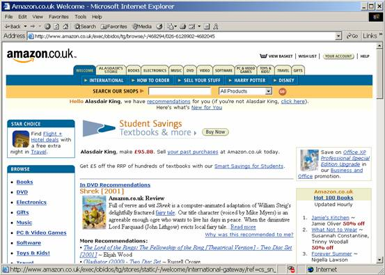 Screenshot of Internet Explorer at Amazon.co.uk's website - lots of links, images, buttons, et cetera.